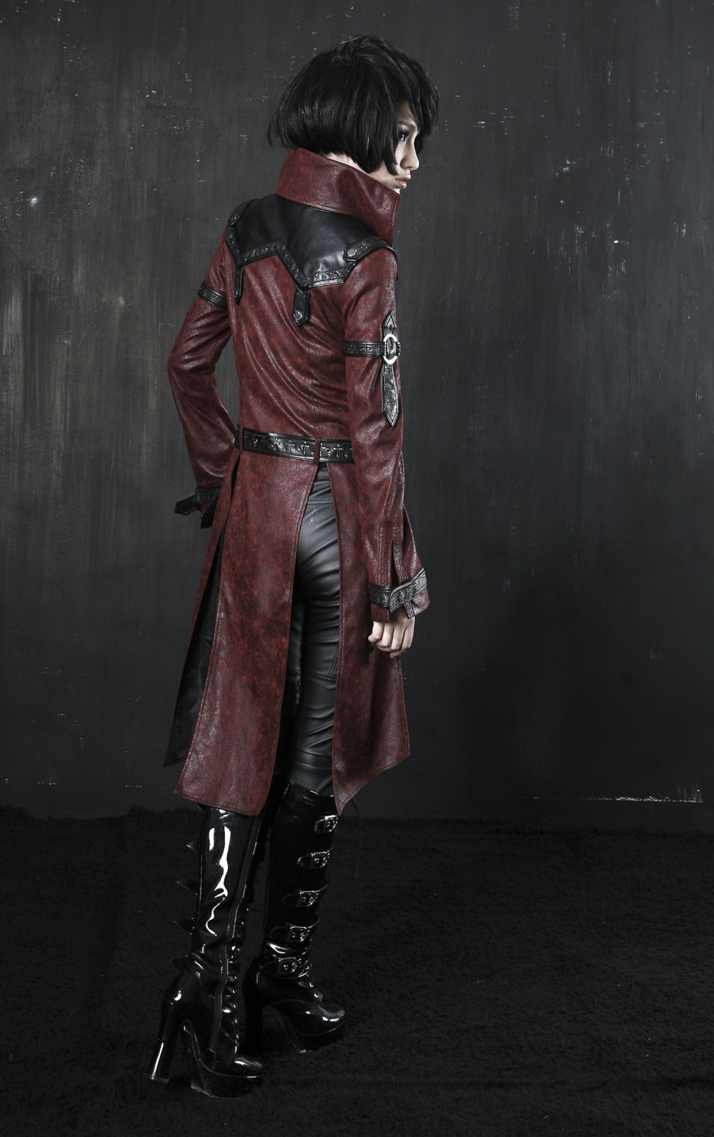 rebelsmarket_ladies_black_long_pleather_coat_steampunk_buckle_punk_rave_jacket_6_ship_coats_7.jpg