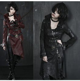 Ladies Black Or Red Long Pleather Coat Steampunk Buckle Gothic