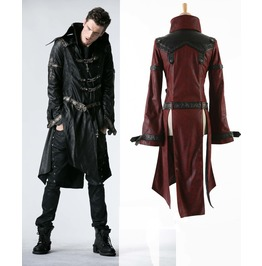 Mens Black Or Red Long Pleather 3/4 Coat Steampunk Buckle Dieselpunk Jacket