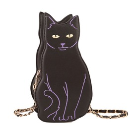Vintage Cartoon Cat Pattern Shoulder Bag Chain Cross Body Bag