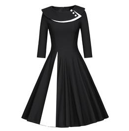 Retro Vintage Styles Patchwork Half Sleeves Dress