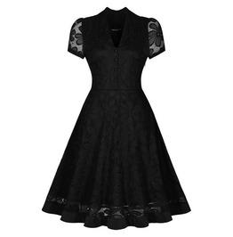 Retro Vintage Styles Short Sleeves Lace Flower Dress