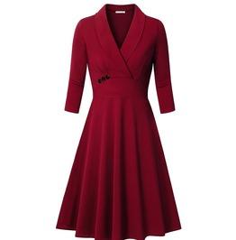 Retro Vintage Styles Turn Down Collar V Neck Dress