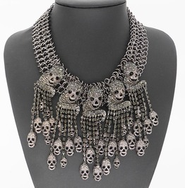 Punk Chain Skull Crystal Tassel Statement Choker Necklace