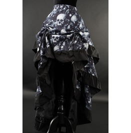 Skull Print Black Ruffle Trim Long Bustle 3 Layer Victorian Gothic Skirt