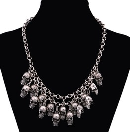 Skull Heads Necklace Antique Silver Gold Chain Crystal Skeleton Necklace