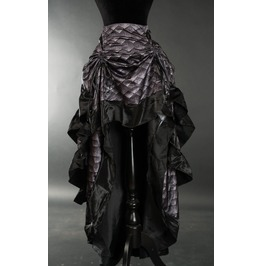 Dragon Scale Black Ruffle Trim Long Bustle 3 Layer Victorian Gothic Skirt
