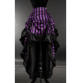 Satin Purple Black Stripe Ruffle Long Bustle 3 Layer Victorian Goth Skirt