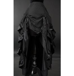 Black White Pinstripe Adjustable Long Bustle 3 Layer Victorian Goth Skirt