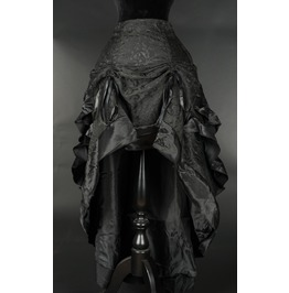 Black Brocade Adjustable Long Bustle 3 Layer Ruffle Victorian Goth Skirt