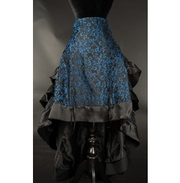 Black Blue Brocade Long Bustle 3 Layer Ruffle Victorian Goth Skirt