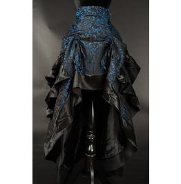 Black Blue Brocade Long Bustle 3 Layer Ruffle Victorian Goth Skirt