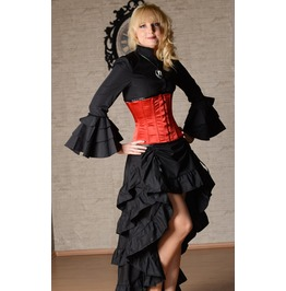 Black Adjustable Long Bustle 3 Layer Ruffle Victorian Pirate Goth Skirt