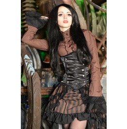 Black Brown Striped Long Bustle 3 Layer Victorian Gothic Steampunk Skirt