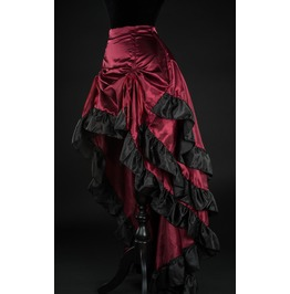 Red Black Satin Long Bustle 3 Layer Victorian Gothic Burlesque Skirt