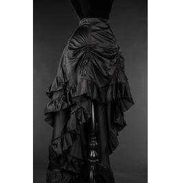 Black Satin Ruffle Long Bustle 3 Layer Victorian Gothic Burlesque Skirt