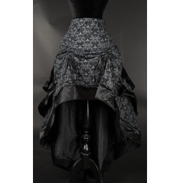 Black Grey Brocade Ruffle Trim Long Bustle 3 Layer Victorian Gothic Skirt