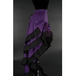 Purple Black Ruffle Long Bustle 3 Layer Victorian Goth Burlesque Skirt