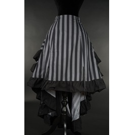 Gray Black Striped Long Bustle 3 Layer Victorian Goth Burlesque Skirt