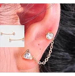 Punk Gold Plated Crystal Rhinestone Double Hole Triangles Chain Earrings