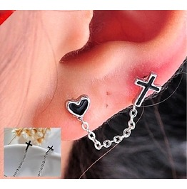 Gothic Fashion Punk Retro Double Holes Cross Heart Long Chain Stud Earrings