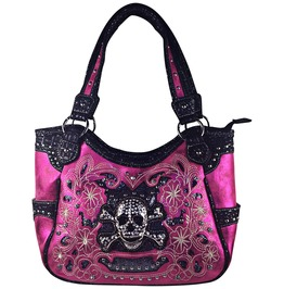 Hot Pink Flower Rhinestone Skull Leatherette Shoulder Handbag
