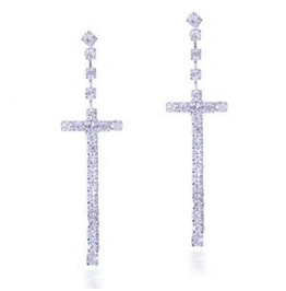 Stunning Sparkle Clear Silver Crystal Rhinestone Long Cross Dangle Earrings