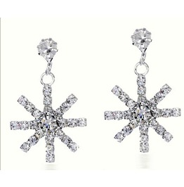 Swarovski Snowflake Ice Cold Crystal Rhinestone Dangle Drop Earrings