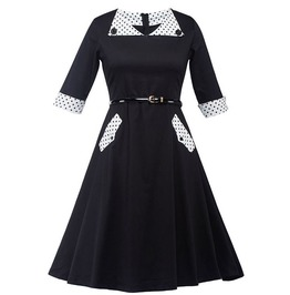 Retro Vintage Styles Black White Polka Dots Dress
