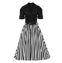 Retro Vintage Styles Patchwork Black Top Striped Skirt Dress