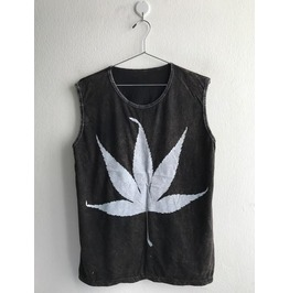 Leaf Punk Rock Stone Wash Vest Tank Top M