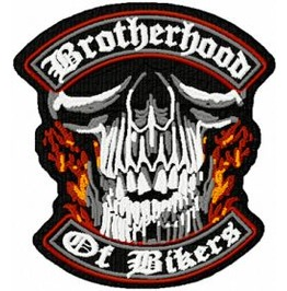Embroidered Brotherhood Of Bikers Motorcycle Patch Iron/Sew On 2 Sizes