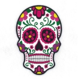 Embroidered Sugar Skull Floral Skull Appliqué Patch Iron/Sew On