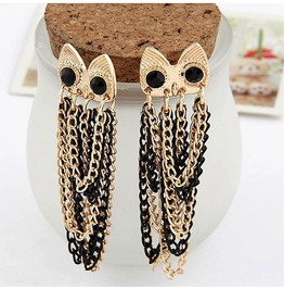 Black Eyes Owl Gold Plated Black Tassels Chain Dangle Owl Earrings