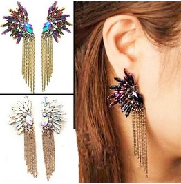 Punk Colorful Crystal Gold Chain Tassel Dangle Peacock Ice Flower Earrings