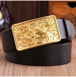 Dragon Brass Genuine Leather Men's Belt Gold Color