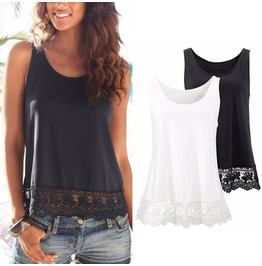 Lace Detail Summer Tank Top Black White Women's