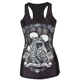 Skull Love Print Tank Top Black Women's