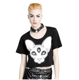 Cat Third Eye Print Sphynx Tee T Shirt Crop Top Women's