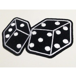 Black Dices Iron On Patch.