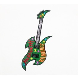 Green Guitar Embroidered Iron On Patch.
