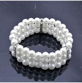 Elegant Bridal Multilayer Rhinestone White Pearl Strand Elastic Bracelet