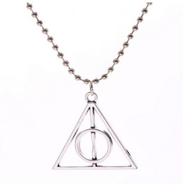 Harry Potter Deathly Hallows Necklace Charm Pendant Chain Silver Look