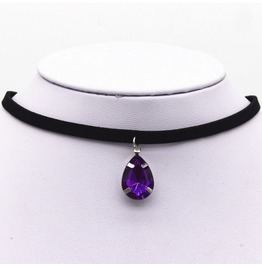 Black Vampire Jewel Choker Gothic Necklace Purple Gems