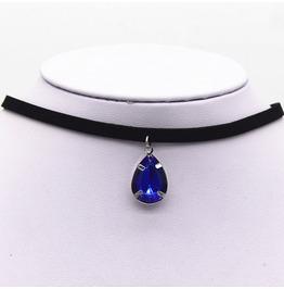 Black Vampire Jewel Choker Gothic Necklace Blue Gems