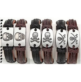 Genuine Leather Skull Unisex Bracelets ~ 3 Designs