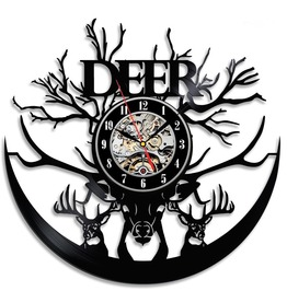 "12 ""Deer Geometric Shape Clock Quartz Wall Clock For Kids Batman Wall Clock"