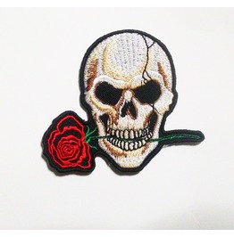Skull And Rose Embroidered Iron On Patch.