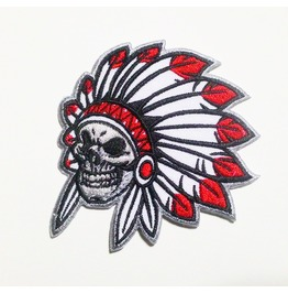 Native Indian Skull Embroidered Iron On Patch.