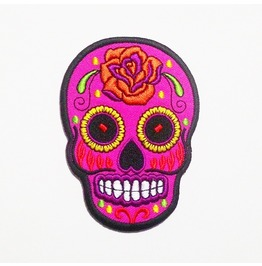 Pink And Rose Sugar Skull Applique Embroidered Iron On Patch.